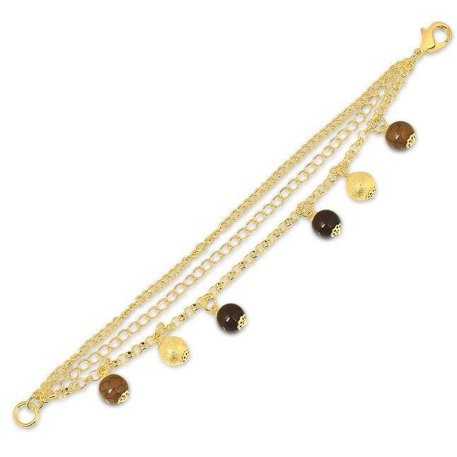 joias-pulseira-semi-joia-banhada-ouro18k-com-bolas-sinteticas-marrom-e-dourada