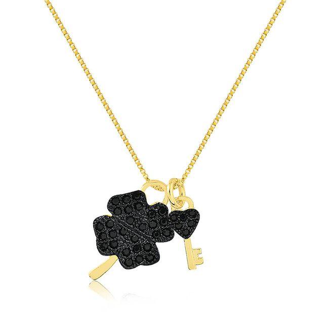 joias-colar-semi-joia-banhado-ouro-18k-com-pingentes-trevo-chave-com-zirconias-black