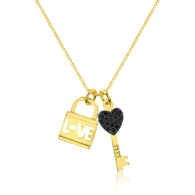 joias-colar-semi-joia-banhado-ouro-18k-com-pingente-chave-e-cadeado-com-zirconias-black