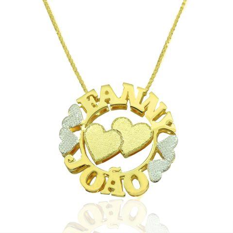 Mandala Dupla Coração Personalizada com Nome Banhado em Ouro 18k ... abbe1397d5