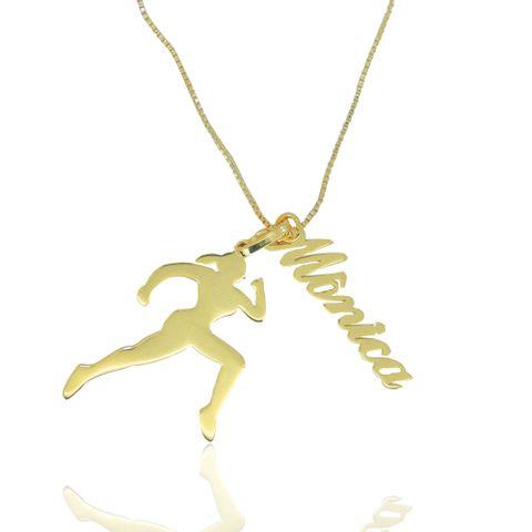 97882c70c47f0 joias-colar-semi-joia-banhado-ouro-18k-com-. 1. Colar com Pingente  Corredora e Nome Personalizado ...