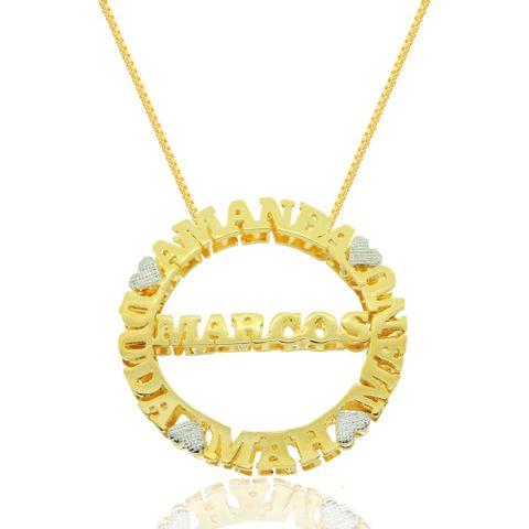 Mandala Dupla com Cinco Nomes Personalizados Banhado em Ouro 18k ... aa6a5eb0b1