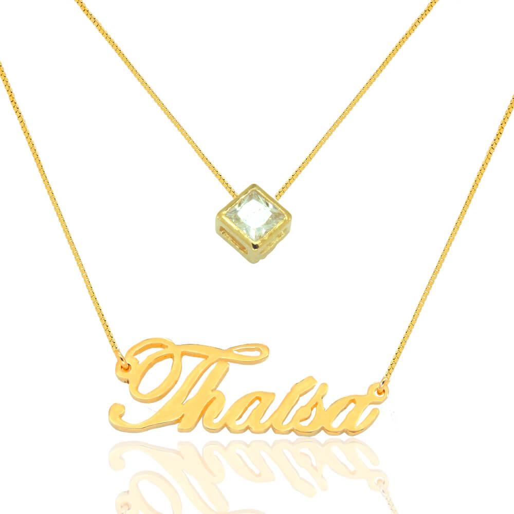 Colar com Nome Personalizado e Pingente Ponto de Luz Banhado em Ouro ... a1d07a2223