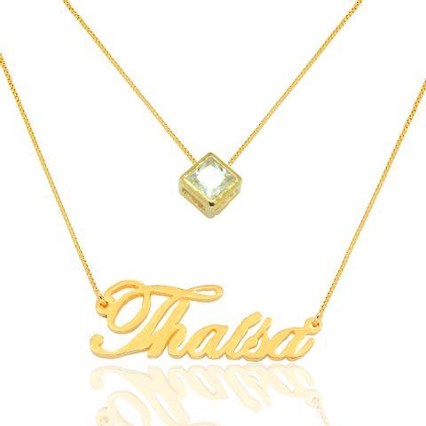 Colar com Nome Personalizado e Pingente Ponto de Luz Banhado em Ouro ... 437c6701e7