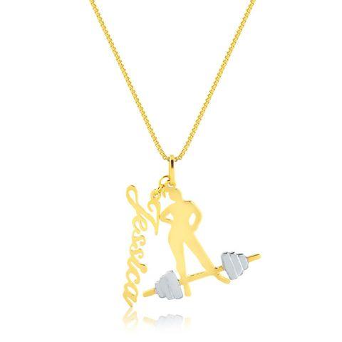 cb7c89014a534 joias-colar-semi-joia-com-nome-personalizado-esporte. 1. Colar com Pingente  Fitness e Nome Personalizado Banhado em Ouro 18k