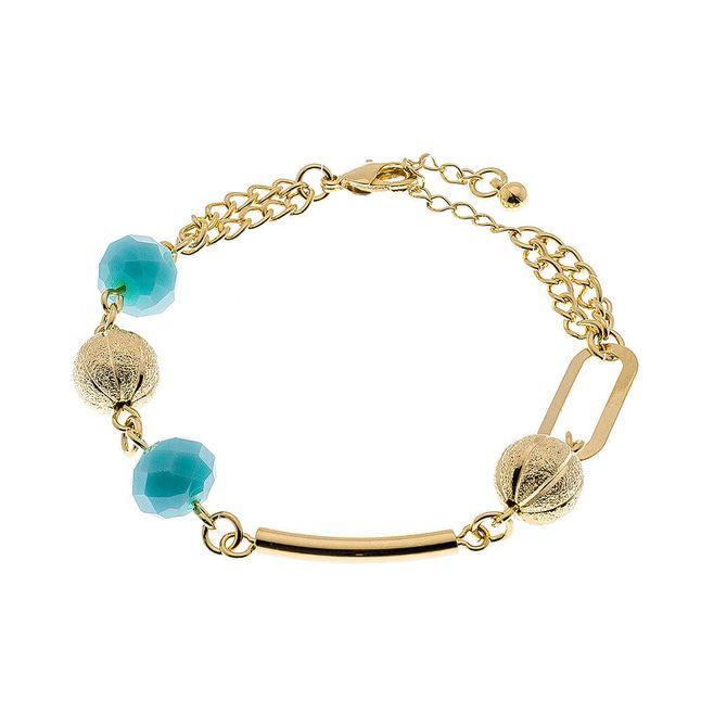 joias-pulseira-semi-joia-com-pingentes-de-bolas-douradas-e-azuis