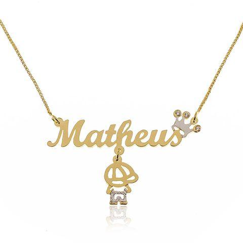 d18ea55ecd255 joias-colar-semi-joia-nome-com-coroa-e-. 1. Colar de Nome com Coroa e  Pingente Menino Banhado em Ouro 18k