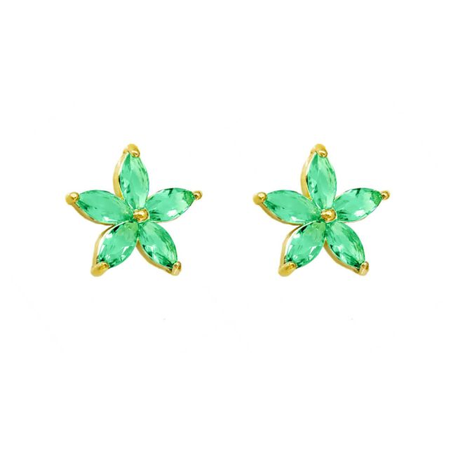 Brinco-Flor-com-Zirconias-Navetes-Verdes-Banhado-em-Ouro-18k