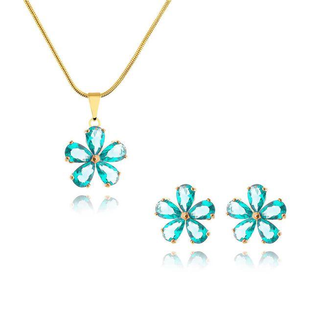 conjunto-flor-com-zirconias-cristal-verde-transparente-banhado-em-ouro-18k