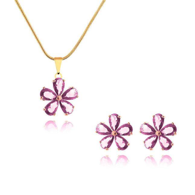 conjunto-flor-com-zirconias-cristal-rosa-banhado-em-ouro-18k