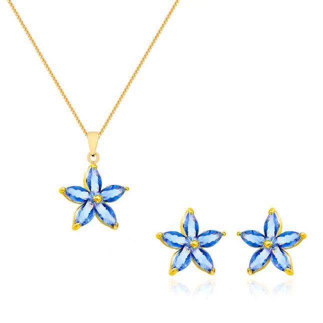 conjunto-flor-pequena-com-zirconias-cristal-azul-banhado-em-ouro-18k