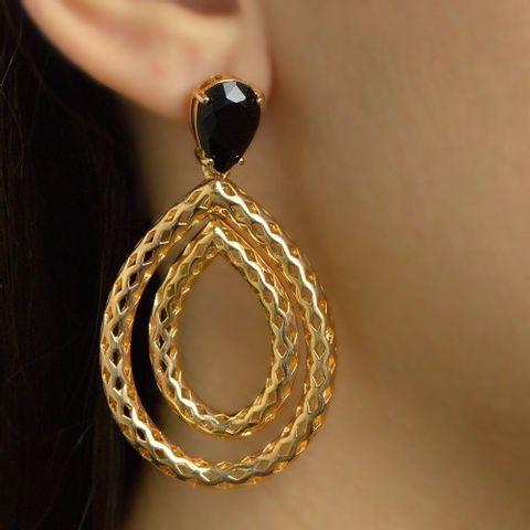 0a4203de55307 Brinco gota com pedra preta banhado em ouro joyce fenolio jpg 480x480 Jóias  ouro preto pedra