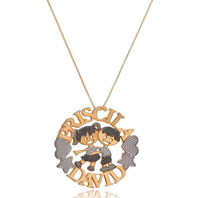 colar-mandala-simples-personalizada-com-dois-nomes-e-dois-filhos-banhado-em-ouro-18k