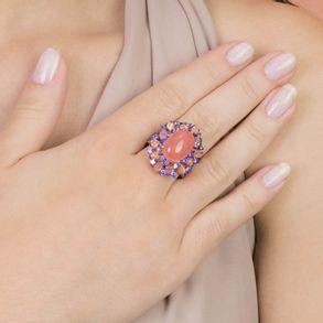 anel-com-cristal-coral-e-cravejado-com-zirconias-lilas-banhado-em-ouro-rose-18k