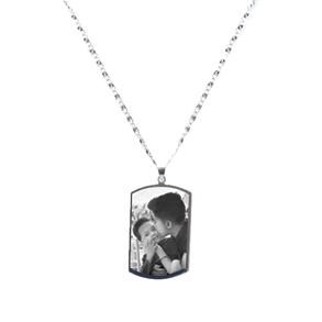 colar masculino em aço inox e tag personalizada com foto 1