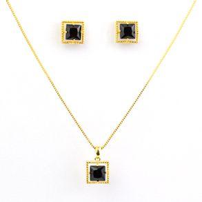 conjunto-quadrado-com-cristal-black-com-bolinhas-em-volta-em-banho-de-ouro-18k