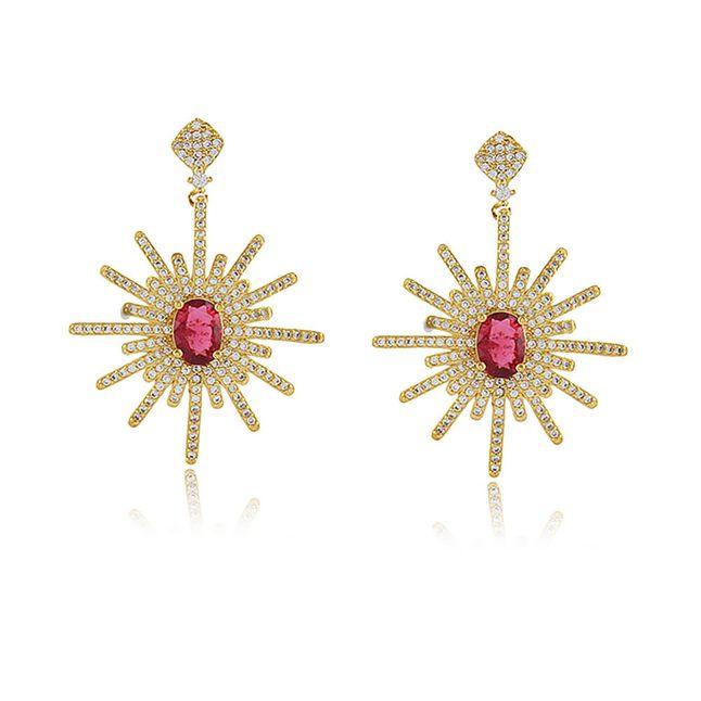 Brinco-luxo-rosa-fusion-cravejado-com-zirconias-banhado-em-ouro-18k-