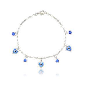 Pulseira-Com-Pingentes-De-Olho-Grego-E-Cristal-Azul-Em-Banho-De-Rodio