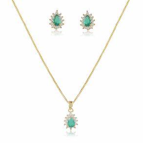 conjunto-modelo-gotinha-com-pedra-cristal-verde-esmeralda-cravejado-com-micro-zirconias-em-volta-banho-de-ouro-18k