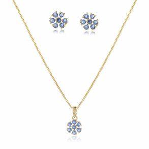 conjunto-delicado-modelo-de-flor-com-pedra-azul-transparente-em-banho-de-ouro-18k