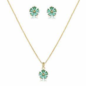 conjunto-delicado-modelo-de-trevo-com-pedra-cristal-verde-esmeralda-em-banho-de-ouro-18k