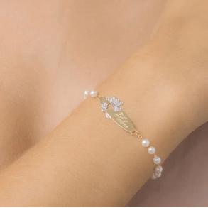 Pulseira-Infantil-De-Perola-Personalizada-Com-Nome-E-Detalhe-Urso-Banhado-Em-Ouro-18K