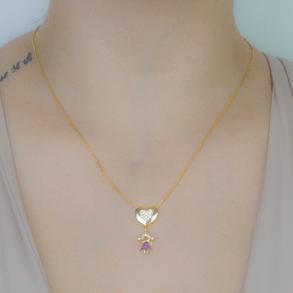 Colar-Coracao-Cravejado-Com-Pingente-De-Menina-Cravejado-Com-Zirconias-Rubi-E-Cristal-Em-Banho-de-Ouro-18K