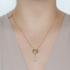Colar-Coracao-Liso-Com-Pingente-De-Menina-Cravejado-Com-Zirconias-Cristais-Em-Banho-de-Ouro-18K