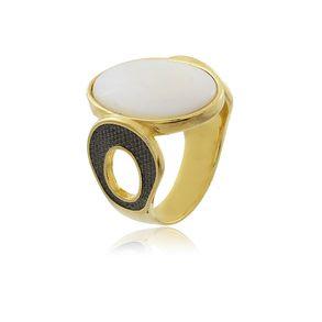 Anel-Pedra-Natural-Madreperola-E-Detalhe-Na-Lateral-Com-Aplique-Em-Rodio-Negro-Em-Banho-De-Ouro-18k