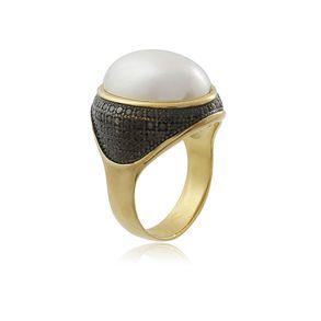 Anel-Com-Perola-Shell-Com-Detalhes-Em-Rodio-Negro-Em-Banho-De-Ouro-18k