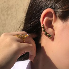 Brinco-Ear-Cuff-Com-Coracoes-Lisos-Em-Banho-De-Ouro-18k
