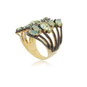 Anel-Luxo-Com-Cristal-Verde-Fosco-E-Transparente-Com-Detalhes-Em-Rodio-Negro-Em-Banho-De-Ouro-18k