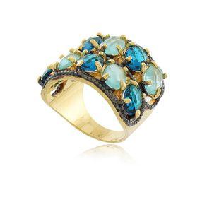 Anel-Luxo-Com-Pedra-De-Cristal-Com-Dois-Tons-De-Azul-Em-Banho-De-Ouro-18k