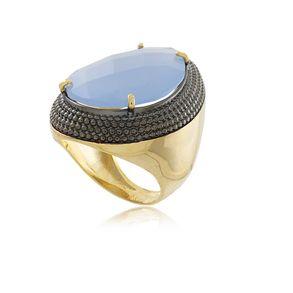 Anel-Luxo-Gota-Com-Pedra-De-Cristal-Azul-E-Detalhe-Em-Rodio-Negro-Em-Banho-De-Ouro-18k