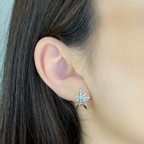 Brinco-Ear-Hook-Estrela-Cravejado-Com-Zirconias-Cristal-Em-Banho-De-Ouro-18k